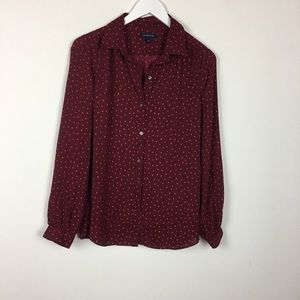 **Lands End Dot Long Sleeve Blouse Size 12